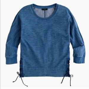 J. Crew Indigo Lace Up Sweatshirt